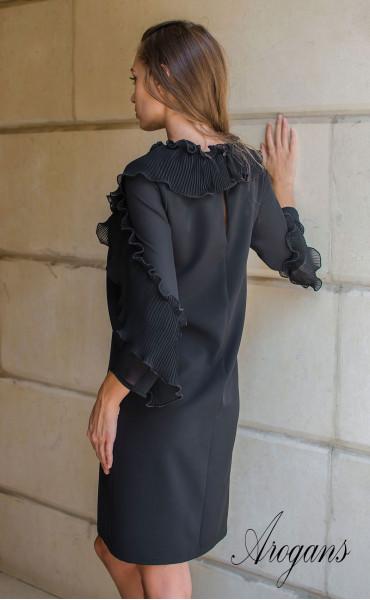 Изискана черна рокля  със солей, шифон и панделка Paris_15667