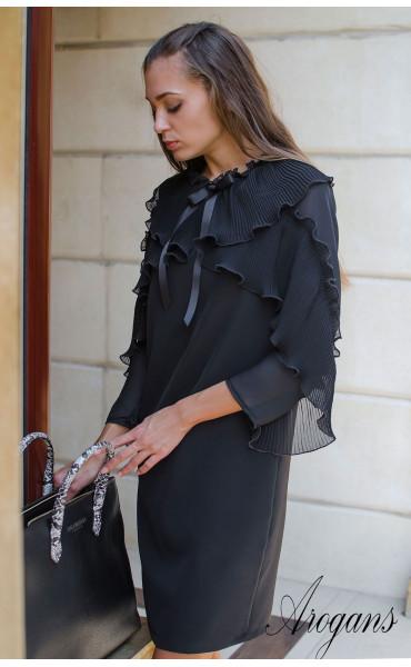 Изискана черна рокля  със солей, шифон и панделка Paris_15668