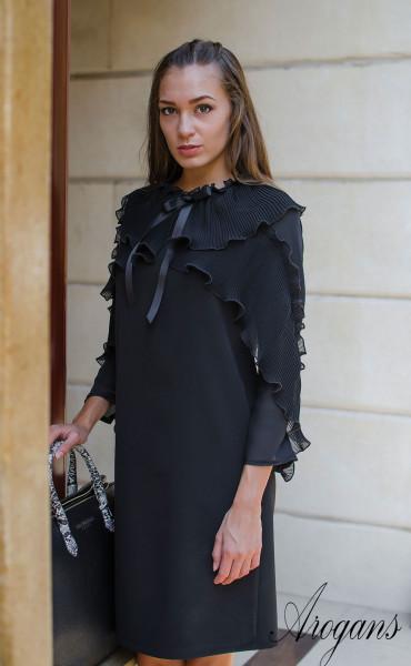 Изискана черна рокля  със солей, шифон и панделка Paris_15669