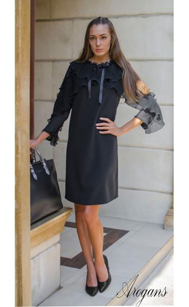 Изискана черна рокля  със солей, шифон и панделка Paris_15671
