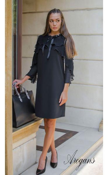 Изискана черна рокля  със солей, шифон и панделка Paris_15672