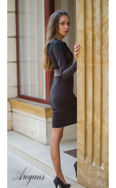 Елегантна делова рокля в два цвята_15674