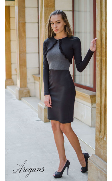 Елегантна делова рокля в два цвята_15675