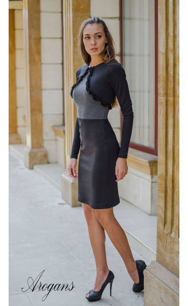 Елегантна делова рокля в два цвята_15677