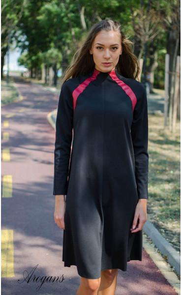 Ежедневна рокля с червени кожени акценти_15705