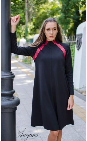 Ежедневна рокля с червени кожени акценти_15706