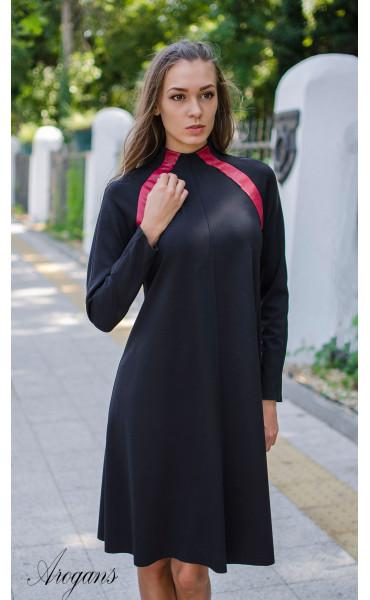 Ежедневна рокля с червени кожени акценти_15707