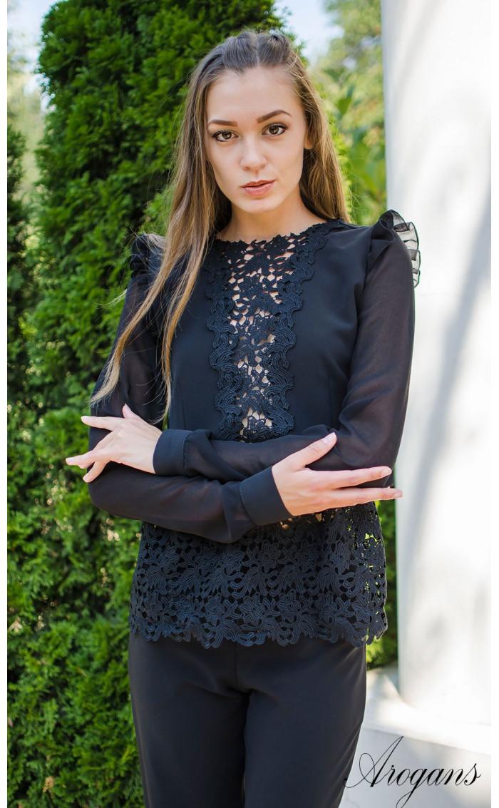 Официална черна риза French Chic