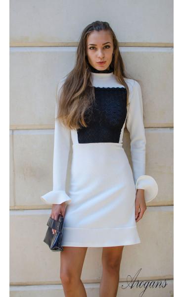 Елегантна бяла рокля Bijoux с дантела и широки ръкави_15714