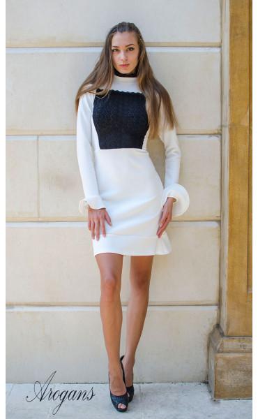Елегантна бяла рокля Bijoux с дантела и широки ръкави_15715