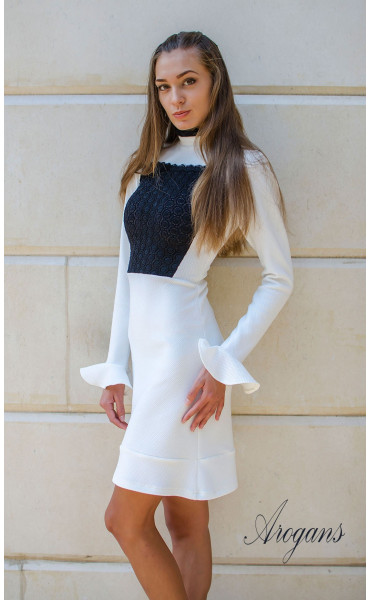 Елегантна бяла рокля Bijoux с дантела и широки ръкави_15717