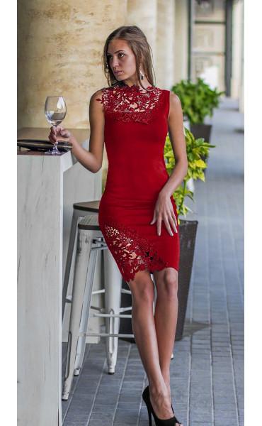 Официална рокля в червено Ивая с дантела