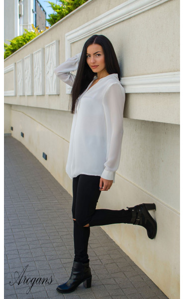 Ежедневна свободна бяла риза _15752