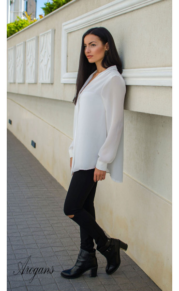 Ежедневна свободна бяла риза _15755