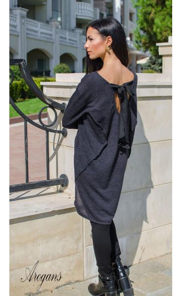 Асиметрична туника от плетиво в цвят сив Casual_15768