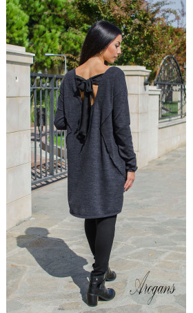 Асиметрична туника от плетиво в цвят сив Casual