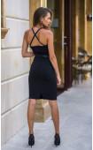 Атрактивна вталена рокля с кожени презрамки Мишел