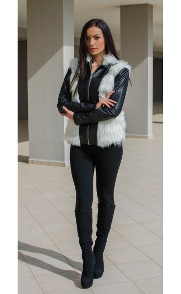 Късо черно кожено яке с бял изкуствен косъм и меко плетиво_15873