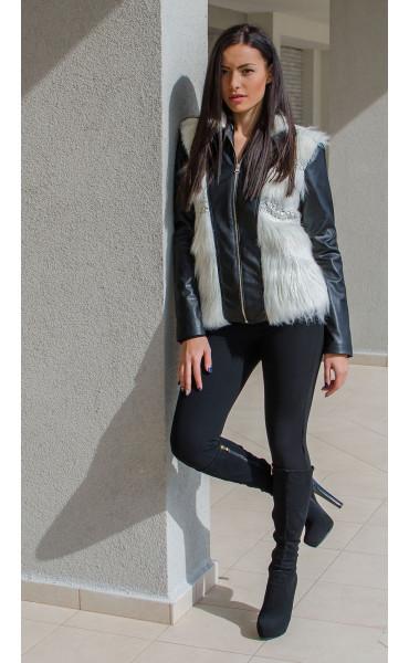 Късо черно кожено яке с бял изкуствен косъм и меко плетиво_15875