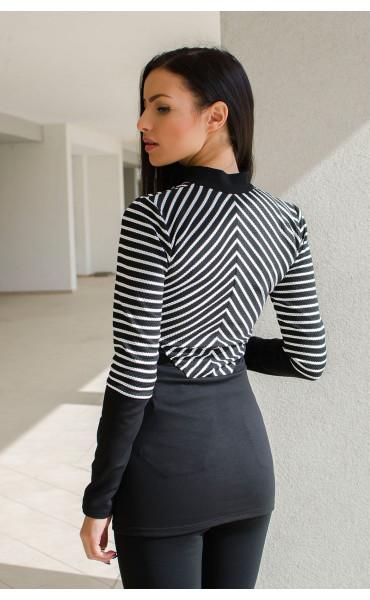 Елегантна блуза с цип и висока яка _15877