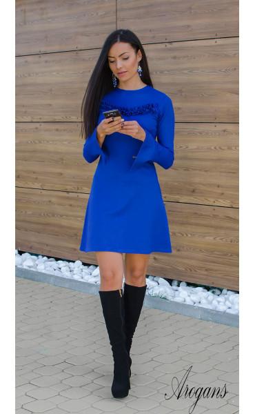 Рокля Aquamarine в наситено синьо и широко ръкави_15881