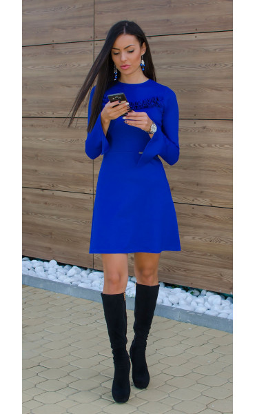 Рокля Aquamarine в наситено синьо и широко ръкави_15882