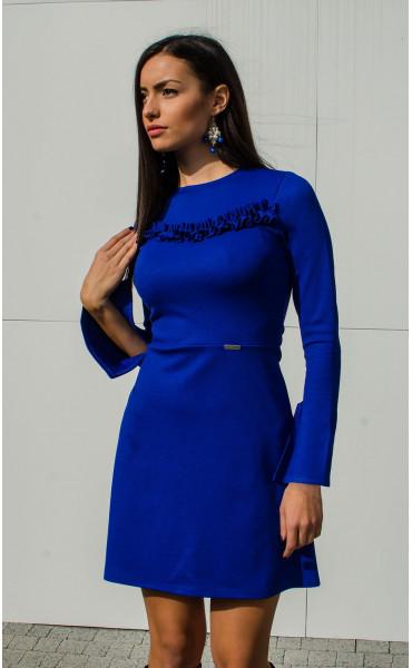 Рокля Aquamarine в наситено синьо и широко ръкави_15884