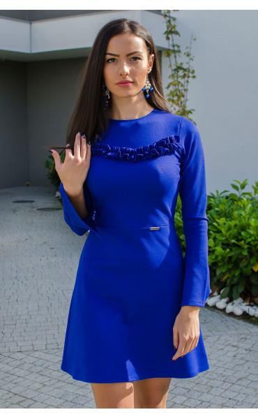Рокля Aquamarine в наситено синьо и широко ръкави_15886