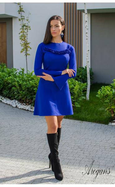 Рокля Aquamarine в наситено синьо и широко ръкави_15887