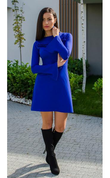Рокля Aquamarine в наситено синьо и широко ръкави_15888