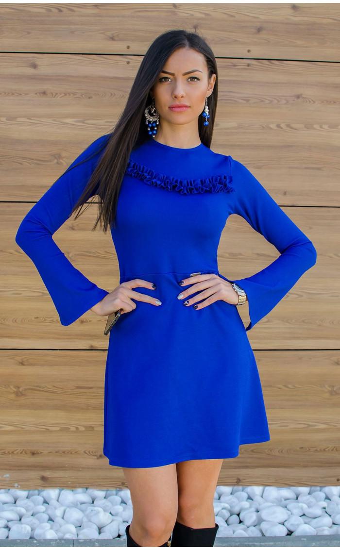 Рокля Aquamarine в наситено синьо и широко ръкави