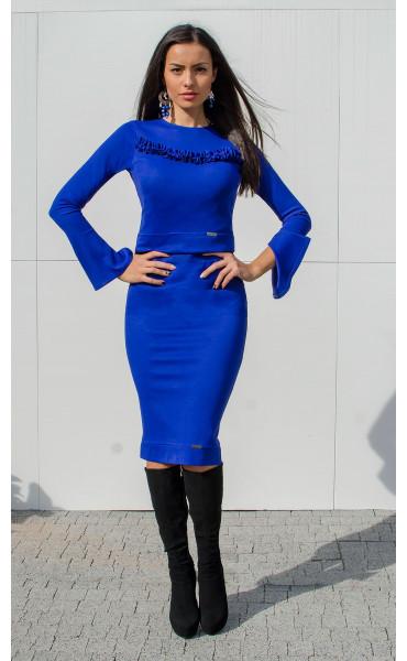 Синя Блуза Aqua с ръкави на къдри_15902