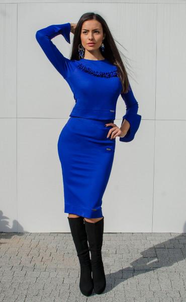 Синя Блуза Aqua с ръкави на къдри_15903