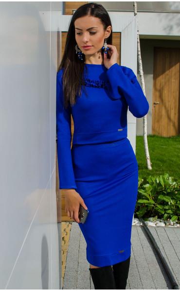 Синя Блуза Aqua с ръкави на къдри_15904