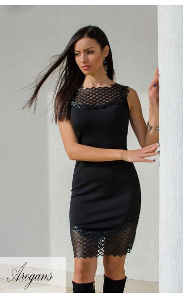 Къса черна елегантна рокля кожена дантела_15916