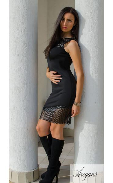 Къса черна елегантна рокля кожена дантела_15918