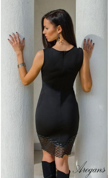 Къса черна елегантна рокля кожена дантела_15919