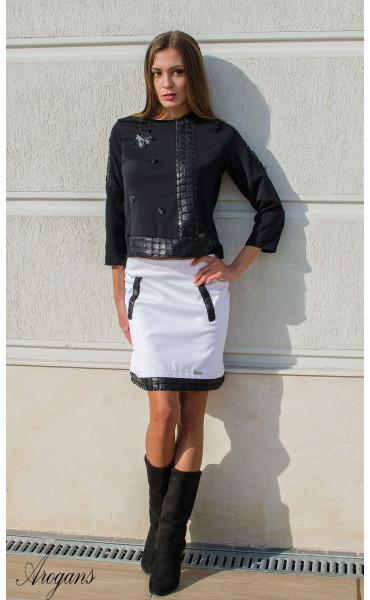 Спортно елегантна пола в бяло декорирана с кожени орнаменти_15955