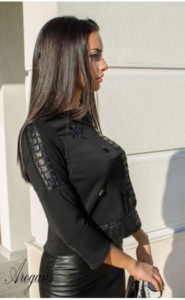 Блуза с три четвърт ръкав и декорации Black crystal_15991