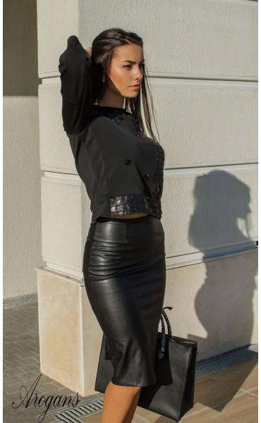 Блуза с три четвърт ръкав и декорации Black crystal_15992