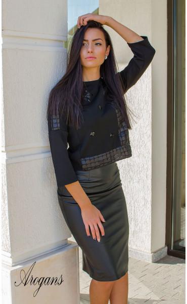 Блуза с три четвърт ръкав и декорации Black crystal_15994