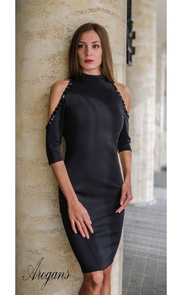 Официална рокля с отворени рамене нежно декорирани с черни камъни_15999