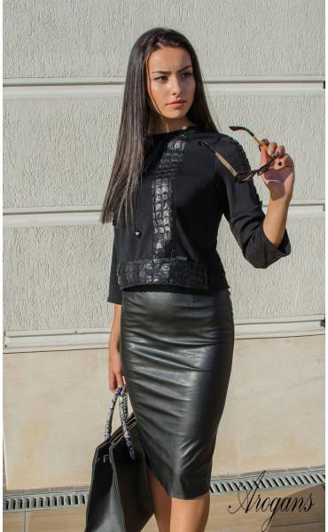 Блуза с три четвърт ръкав и декорации Black crystal_16009