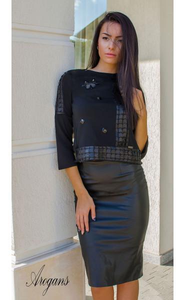 Блуза с три четвърт ръкав и декорации Black crystal_16011
