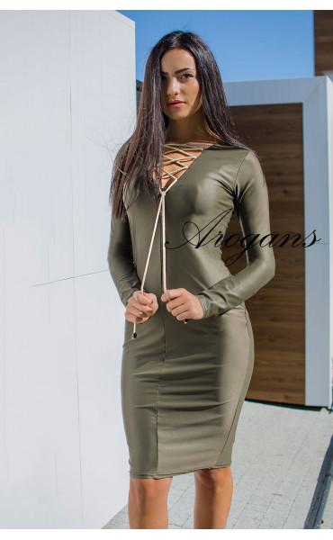 Спортно елегантна рокля в милитъри зелен цвят_16012