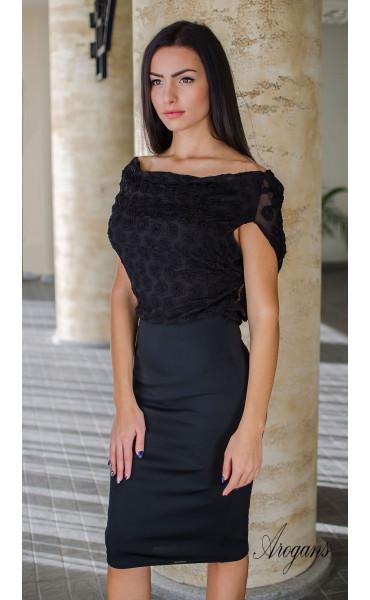 Официална вечерна рокля в черно с гръцки гръб Caroline_16025
