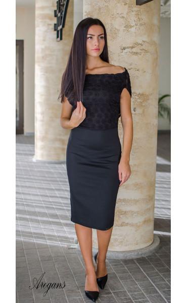 Официална вечерна рокля в черно с гръцки гръб Caroline_16026