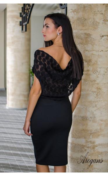 Официална вечерна рокля в черно с гръцки гръб Caroline_16027