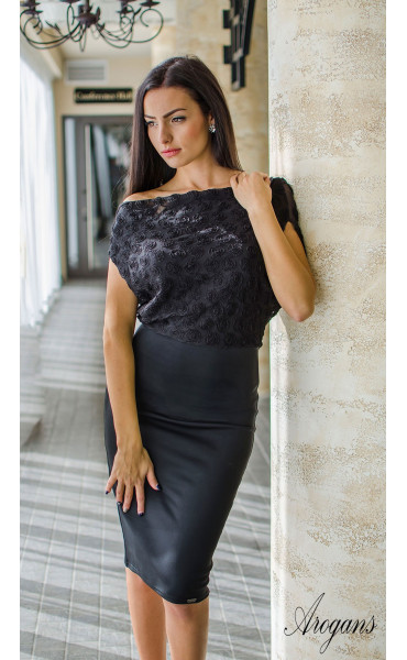 Официална вечерна рокля в черно с гръцки гръб Caroline_16029