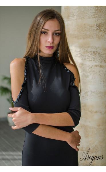 Черна официална рокля с отворени рамене Вероник